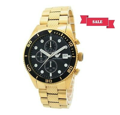 New Emporio Armani Ar5857 Gold Stainless Steel Chronograph Mens Watch