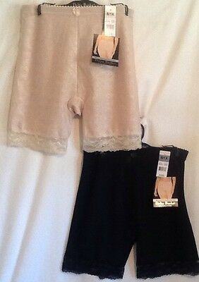 Delta Burke Intimates 2 Pair Slimming Jacquard Long Leg Black And Beige New NWT