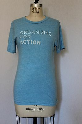Barack Obama T Shirt Tee  Organizing for America  Blue Size Small Women's Woman