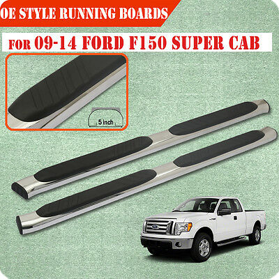 """Fit 09-14 Ford F150 Super Cab 5 """" Running Board Nerf Bar Side Step S/S Chrome"""