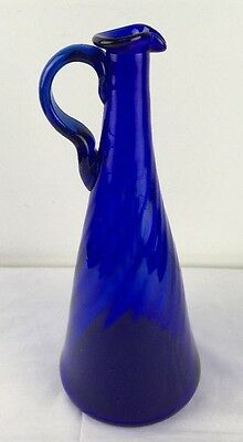 "Vtg 11"" Hand Blown Swirled Cobalt Glass Decanter w Applied Handle Rough Pontil"