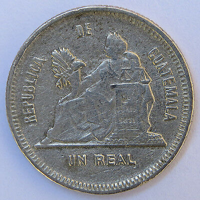 1893 Guatemala 1 Real Silver Coin KM#153a.2 Mintage 293,000