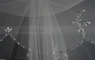 New fashion Fingertip Length Two-tier Wedding Veil Bead Edge Bridal Accessories