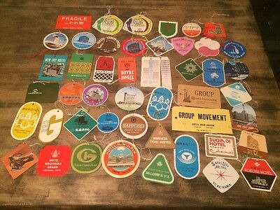 48 Different Vintage Luggage Tag Lot Hotel Japan Billy Vaughn George Werth