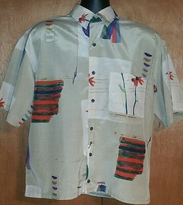 Vintage Goouch Abstract 80's/90's Short Sleeve Shirt M Silk Cotton Blend