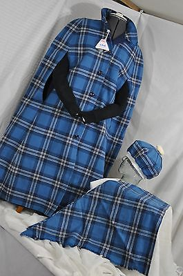 Made in England Reversible Cape-Blue Plaid Wool - Vintage w/ hat scarf women's M