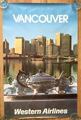 Vintage Western Airlines Advertising Poster 1970s - Vancouver, BC Canada 'Tea'
