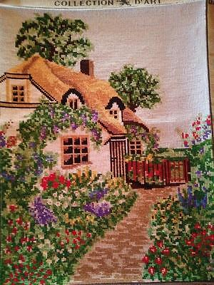 Needlepoint Thatch Cottage & Gardens - Completed~ D'Art ~ Frame? Cushion front?