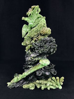 Large Antique Carved Chinese Nephrite Jade Statue of Dragon Chasing Phoenix Ruyi