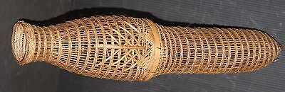 Fishing trap cage hand made rattan reed vintage fish hunting mid century modern