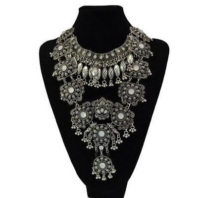 Women Retro Coins Chain Pendant Statement Jewelry Choker Chunky Bib Necklace PK