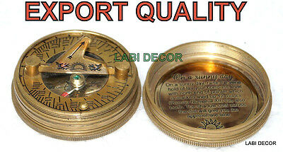 Antique Brass Compass  Sundial Navy Ship 1628 Engrave LID Cap Vintage Marine