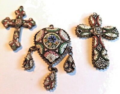 3 Good Quality Very Vintage Micro Mossaic Pendants for repair and resale