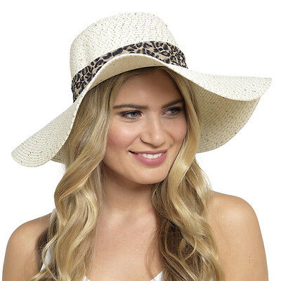 New Ladies Womens Crushable Wide Brim Floppy Straw Style Summer Sun Hat