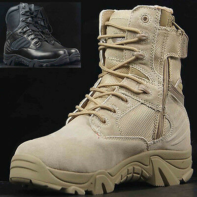 US Army Tactical Military Ankle Boots Men's Comfort Leather Hiking Combat Shoes