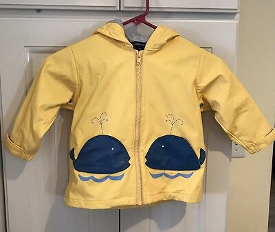 Lands End Toddler Yellow Blue Whale Rain Coat Size 2T Zip Front Hooded Unisex