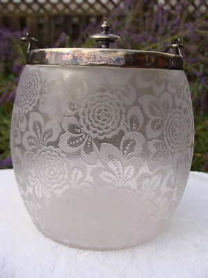 OUTSTANDING ANTIQUE MAPPIN & WEBB BISCUIT BARREL Etched Floral London Sheffield