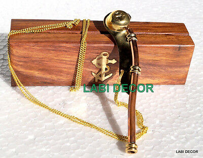 Vintage Boatswain Pipe Brass Long Chain Bosun Whistle Anchor Wood Box Maritime