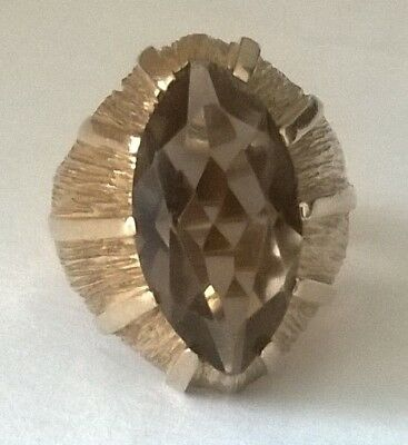 SECONDHAND 9ct YELLOW GOLD LARGE HEAVY (7.7g) SMOKY QUARTZ COCKTAIL RING SIZE K