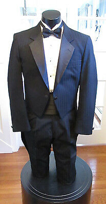 Mens Vintage Black Strip Tail Tuxedo Notch Lapel Raffinati Robert Wagner 4Pc 43L