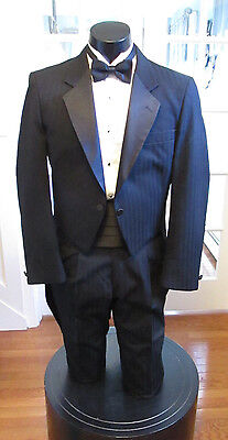 Mens Vintage Black Strip Tail Tuxedo Notch Lapel Raffinati Robert Wagner 4Pc 44R