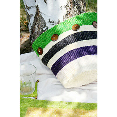 Fair Trade Hand Woven African Basket with Bone Accents Green & Blue Stripes
