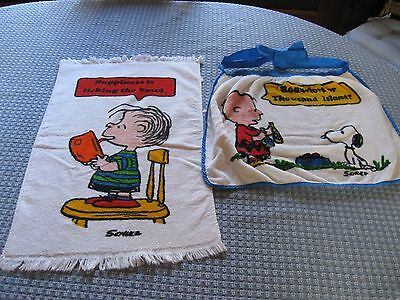 TASTEMAKER SNOOPY PEANUTS CHARLIE BROWN VINTAGE APRON and DISH TOWEL
