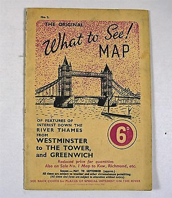 Vintage 'The Original What To See' No2 London 1950's Tourist Map