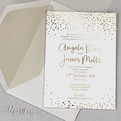 GOLD / SILVER / ROSE GOLD FOIL Personalised White Wedding Invitation Day Evening