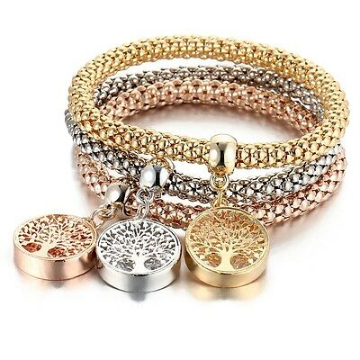 Triple Gold Silver And Rose Gold Tones Tree Of Life Charm Stretch Bracelet
