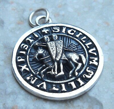 Heavy Solid Sterling Silver 925 The Seal of Knights Templar 3D Pendant
