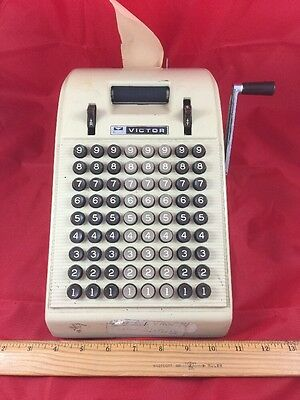 Adding Machine w/ Hand Crank Antique Vintage with Paper VICTOR CHICAGO USA MADE