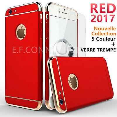 Coque Houss PC + 1 Film Verre Trempe Protection iPhone 6 6S 7 Plus 8 X XR XS MAX