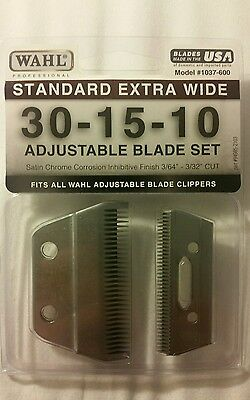 Wahl (1037-600) Standard Extra Wide 30-15-10 ADJUSTABLE CLIPPER Blade Set NEW