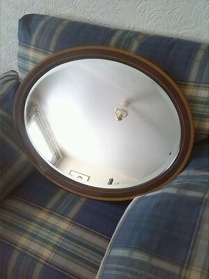 Lovely Antique Edwardian Mahogany Inlaid Oval Wall Mirror With Bevelled Edge