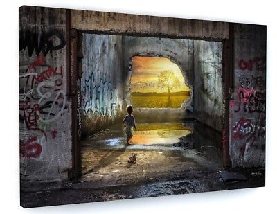 "BANKSY STYLE KIDS GRAFFITI CANVAS PICTURE WALL ART, LARGE Various Sizes "" #A360"