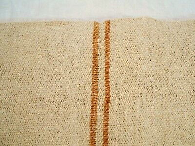 Vtg Antique GOLDEN HONEY STRIPE FRENCH HEMP LINEN Fabric FEED SACK GRAIN BAG