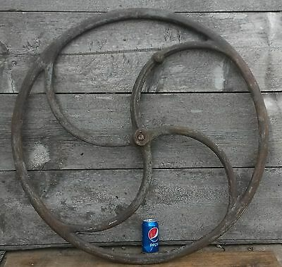"Antique Large Cast Iron CRANE 37.5"" S Spoke Machinery Wheel Industrial Steampunk"