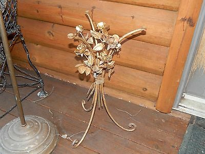 Vintage Italian Toleware Floral Gilt Table Base Hollywood Regency