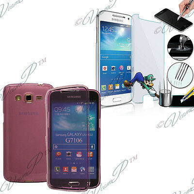 Case Cover Film Toughened Glass Walet Book PURPLE 2 Large Galaxy SM-G7106