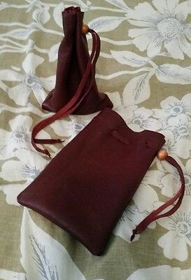 deluxe leather dice coin bag pouch medieval renaissance Burgundy red drawstring