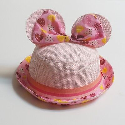 Girl's Straw Bucket Hat Cute Ear With Bow Pink
