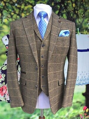 Men's 3 Piece Tan Brown Check Tweed Jacket, Waistcoat, Trousers Sold Separately