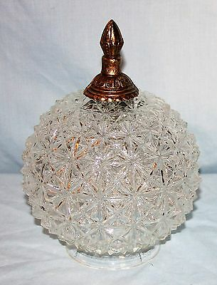 Vintage Mid Century Hanging or Ceiling Light Cut Glass Globe w/Finial Round