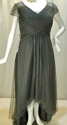 J.j.house~Nwt!!~Gray Tulle Hi Low Gown-Tuck Pleat Bodice-Embellish Top-Sz:16W