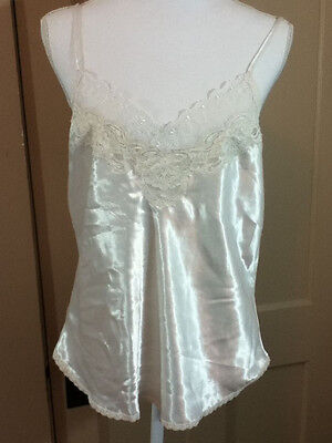 Christian Dior VTG Ivory Camisole Satin Lace Spaghetti Straps Size Med Cami