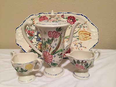 Blue Ridge Elegance, Chocolate Pot Pedestal Creamer & Sugar with the Tray