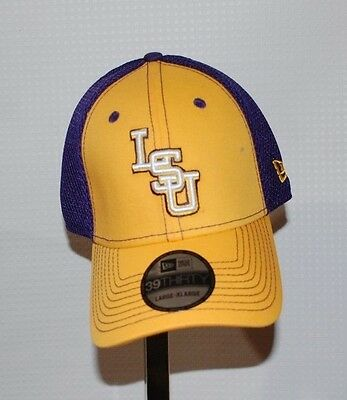 a6d08d71b2a LSU TIGERS NEW Era 39Thirty Stretch fit hat L XL Yellow and Purple ...