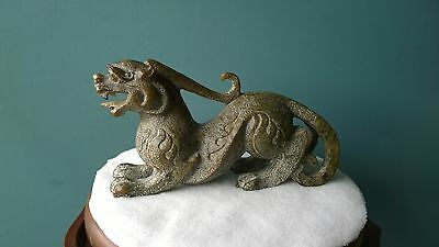 """Stunning Design Old Nephrite Jade Dragon Sculpture Private Collection 9"""" Long."""