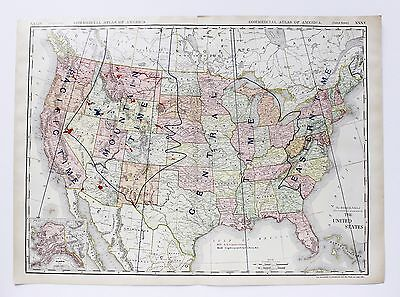 1913 United States Map Time Zones Commercial Railroads Carey Act Large Original